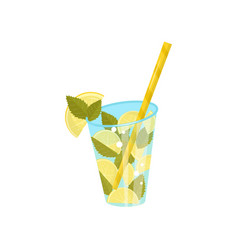 glass of sweet refreshing beverage with slices of vector image