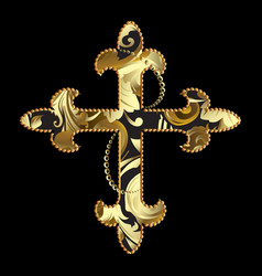 Gold ornamental cross with decorative vector
