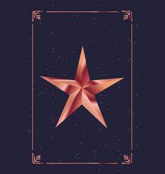 golden star frame decoration dark background vector image