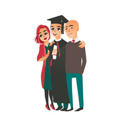 Graduate in cap gown standing with proud parents vector