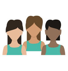 group of women avatars characters vector image
