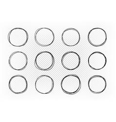Hand drawn circle set of elements sketch vector