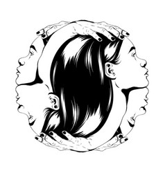 Hand drawn female heads with vector