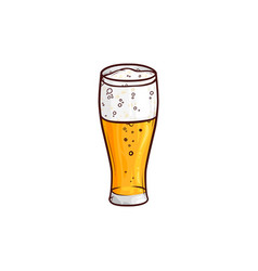 Hand-drawn glass of light beer lager ale cider vector