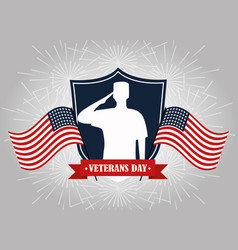 Happy veterans day soldier on shield with flags vector