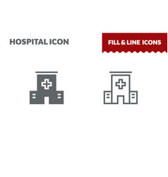 Hospital icon fill and line flat design vector