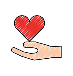 human hand donation charity support gesture vector image