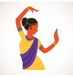 India girl wearing traditional clothing dancing vector