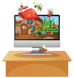 Insect kingdom on computer screen background vector