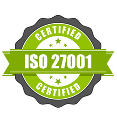 Iso 27001 standard certificate badge - information vector