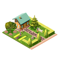 Landscaping isometric composition vector