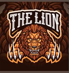 lion esport mascot logo vector image
