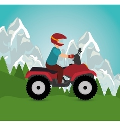 Man riding atv sport landscape background vector