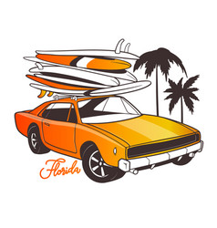 Miami typography for t-shirt print and retro car vector