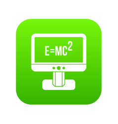 monitor with einstein formula icon digital green vector image