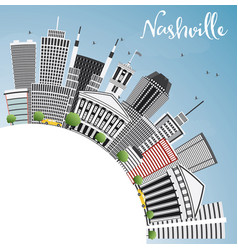 nashville skyline with gray buildings blue sky vector image