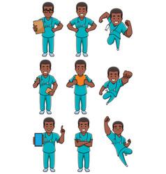 Nurse african male set vector