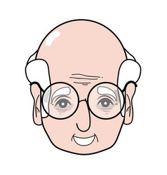 old man face with glasses and hairstyle vector image