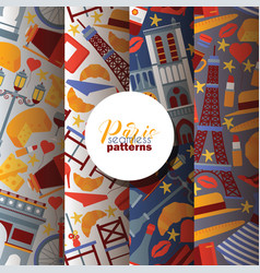 paris seamless pattern french culture vector image