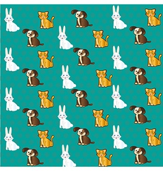 Pets pattern with cat bunny and dog labels vector