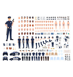 Policeman creation set or diy kit collection of vector