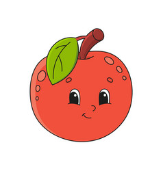 Red apple cute flat in childish cartoon style vector
