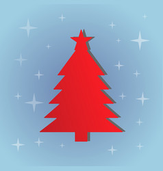 red christmas tree on the blue background vector image