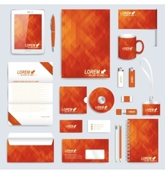 Red set layout of corporate identity vector