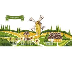 Rural landscape sketch vector