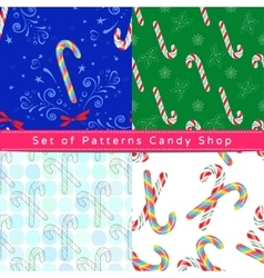 Seamless patterns with candy cane vector