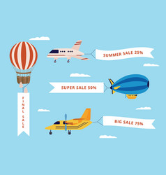 set airplane airship and balloon with banners vector image