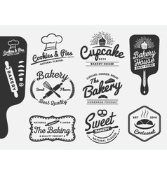 set bakery and bread logo labels design vector image