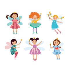 set cute fairies or elves girls cartoon flat vector image