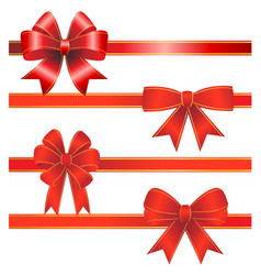 set from red christmas bows vector image