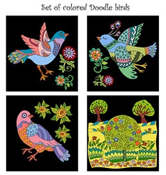Set of 4 doodle colored birds vector image