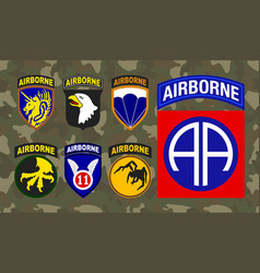 Set of airborne unit patch isolated on camouflage vector