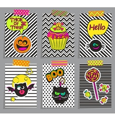 Set of stylish halloween cards vector image