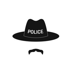 Sheriff avatar mustachioed policeman in hat vector