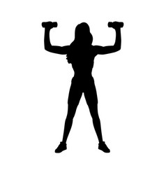 Silhouette girl workout with dumbbells vector