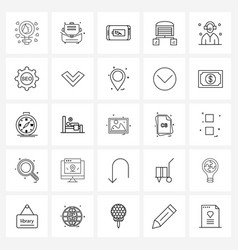 Simple set 25 line icons such as setting vector
