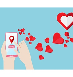 Smartphone Gps navigate find to love heart vector