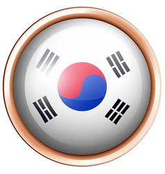 South korea flag design on round badge vector