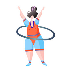 Sport workout fitness woman turns hoop characters vector