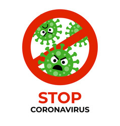 Stop coronavirus sign with bacterium cartoon gems vector
