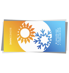Sun and snowflake air conditioner business card vector