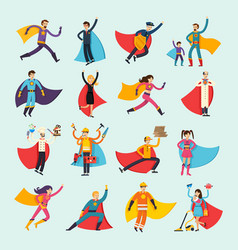 Superheroes orthogonal flat people set vector