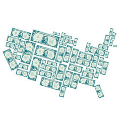 the united states made out of one dollar bills vector image