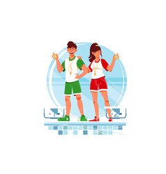 two happy woman and man coaches and swimmers vector image