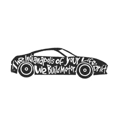 Typography lettering sports car vector