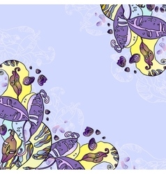 Vintage purple violet floral card vector